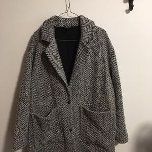 Topshop wool blend black and white coat